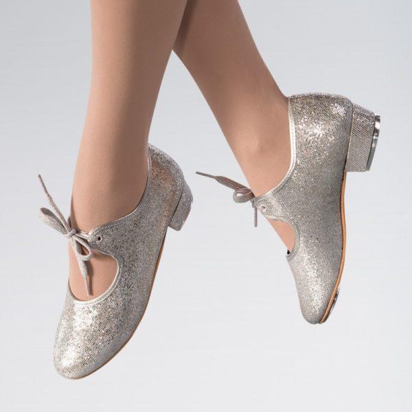 Silver hologram tap shoe